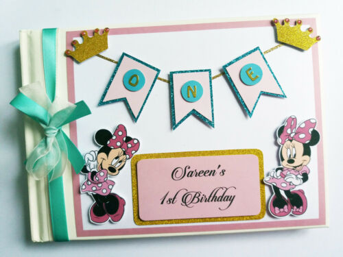 pink and gold Personalised Lion King Simba and Nala girls birthday guest book