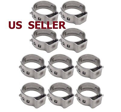 US SHIP 10 PCS Stainless Steel Ear Clamp Stepless Ring Crimp Pinch Auto 14mm