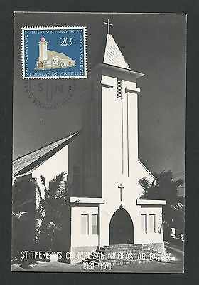 Nederlandse Antillen Mk 1971 St Europa Theresia Kirche Maximum Card Mc Cm D2220 Exquisite Handwerkskunst; Briefmarken