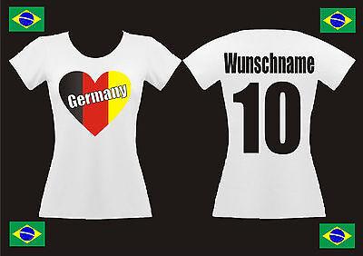 WM Fan Shirt Deutschland Lady Damen T-Shirt Trikot Herz Wunschdruck EM