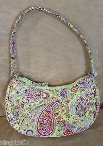 Vera-Bradley-purse-Silk-green-paisley-pinafore-crescent-bag-pistachio-small-EUC