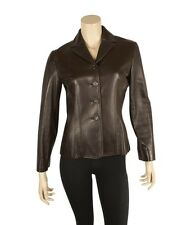 Celine Brown Leather Casual Jacket, Size 38