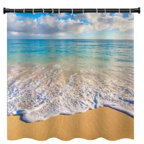 "Beach Scenery Bathroom Shower Curtain Set 3D Printed Waterproof with Hooks 71/"""