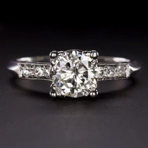 Vintage 1.15Ct Round Diamond Dome Art Nouveau//Art Deco 1895-1935 Ring 925 Silver