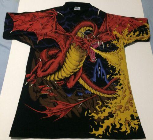 Vintage LIQUID BLUE 1993 T-Shirt Red Dragon Fire K