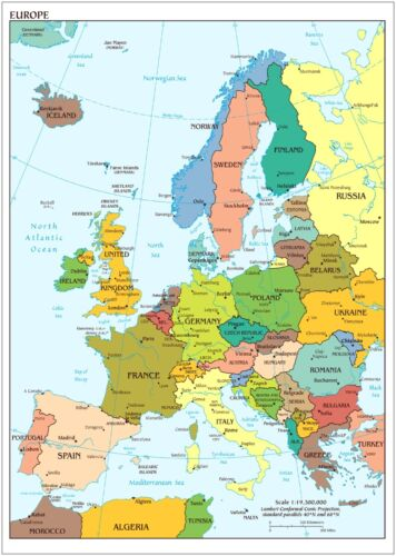 A0 A1 A2 A3 A4 Sizes Map of Europe Large CANVAS