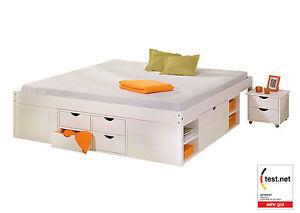 Funktionsbett 160x200  Bett 160x200 cm Doppelbett Stauraumbett Funktionsbett weiß Rost ...