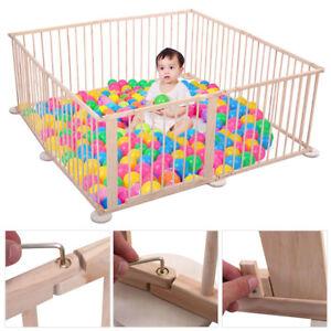 8 Panel Baby Playpen Foldable Wooden Frame Kids Play Center Yard Indoor&Outdoor