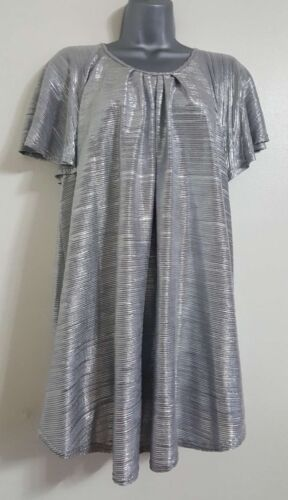 NEW EX Plus Size Silver Plisse Glittery Sparky Metallic Party Tunic Blouse Top