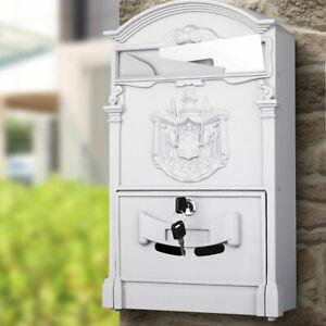 Cassetta-Postale-Parete-Alluminio-Buca-Lettere-Posta-Esterno-con-Chiave-Grigio
