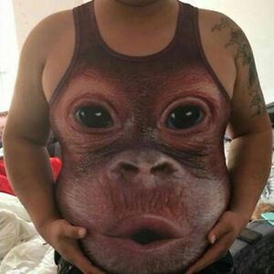 Summer-Men-039-s-Gorilla-Monkey-toot-Funny-3D-Print-Sleeveless-Tank-Top-Vest-Shirts