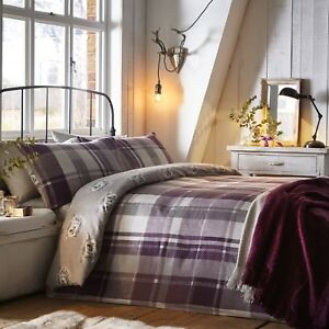 Dreams-amp-Drapes-COLVILLE-CHECK-Plum-Tartan-100-Brushed-Cotton-Duvet-Cover-Set