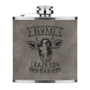 Beware Crazy Cow Man 6oz PU Leather Hip Flask Grey Funny Animal Joke