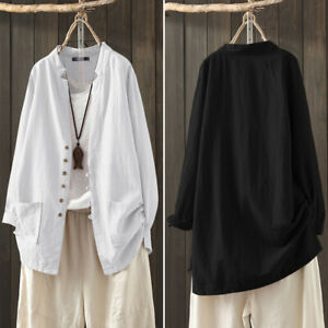 Mode-Femme-100-coton-Simple-Ample-Manche-Longue-Loisir-Chemise-Haut-Tops-Plus