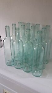 24 EMPTY USED WINE BOTTLES 750 ml BORDEAUX ACQUA TINT FOR CORK USE WITH LABELS