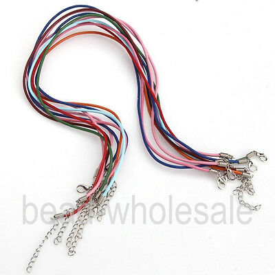 New Lot 10/100pcs Real Leather Cord With Lobster Clasps Fit Charm Necklace 18''