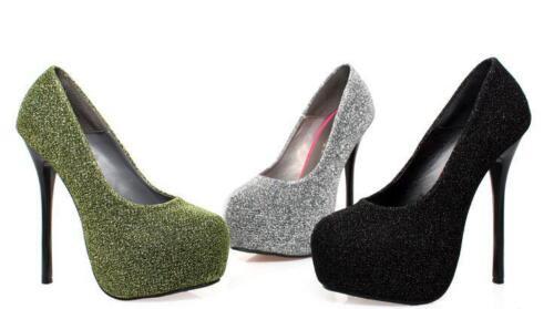 Noir Élégant Chaussures Plateau Femme Éscarpins Aiguille Aiguilles Talons 13 wqTxOBa