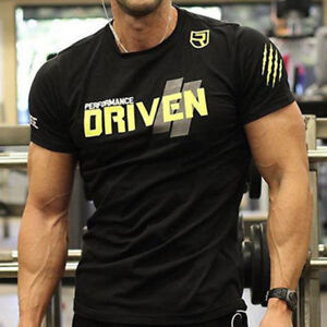 Men-039-s-Gym-Muscle-Bodybuilding-Cotton-Sport-Fit-Muscle-Fitness-Summer-T-shirt-Tee