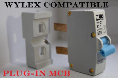 32 Amp-entièrement compatible Voyage Interrupteur Fusible Wylex plug-in BCP 16 Amp 6 Amp
