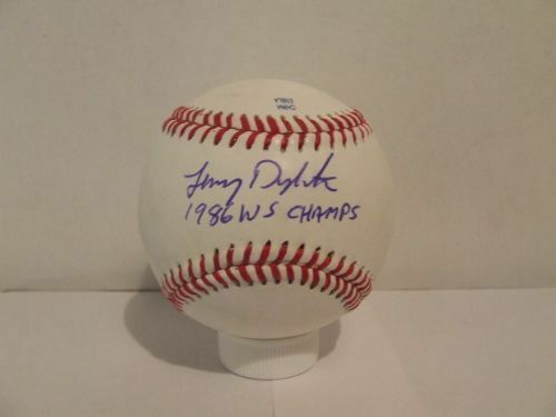 Lenny Dykstra Signed Autographed Baseball w/1986 WS Champs - W/COA Phillies Mets