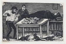 "Jose Guadalupe Posada Woman Who Gave Birth to 3 Children & 4 Animals 1900 7x5"""