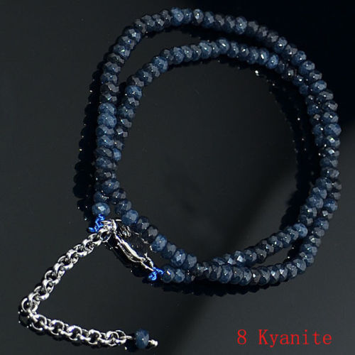 """2x4mm Dark Blue Apatite Faceted Roundlle Gemstone Necklaces 18/"""""""