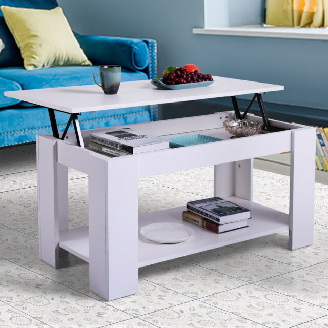 Modern Wood Lift Top Coffee Table W Storage E Living Room Furniture White