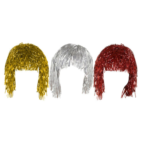 Set of 3 Gold Silver /& Red Adult Fancy Dress Shiny Metallic Foil Tinsel Wigs