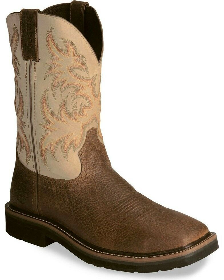 "Justin Men's Pull On Wide Square Toe Work Boots  11"" Copper Kettle Bone WK4683"