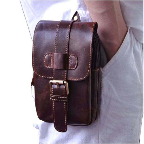 Men/'s Vintage Genuine Leather Cowhide Cell Phone Belt Pouch Hook Fanny Waist Bag