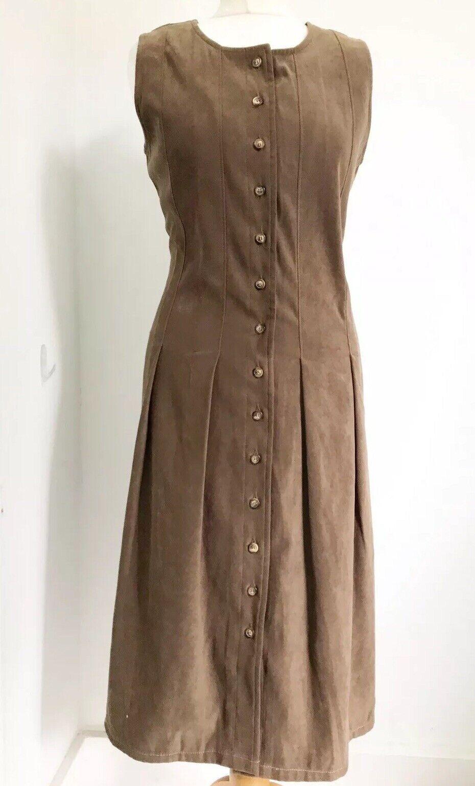 Ladies ORVIS Khaki Green   Olive Button Front Sleeveless Dress Sz US 8