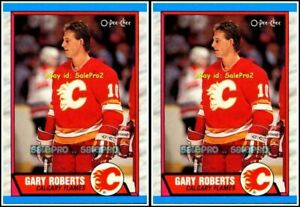 2x-OPC-1989-GARY-ROBERTS-NHL-CALGARY-FLAMES-SUPERSTAR-202-MINT-ROOKIE-LOT