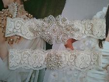 SALE Wedding Garter Rhinestone Set Ivory Lace KeepsakeToss