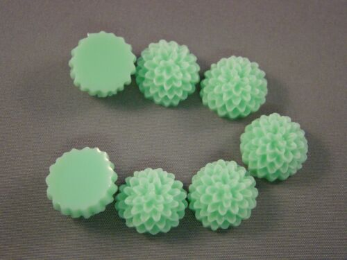 15MM RESIN DAHLIA FLOWER CABOCHONS BEADS FLAT BACK DIFF COLOUR 1 or 5 pices
