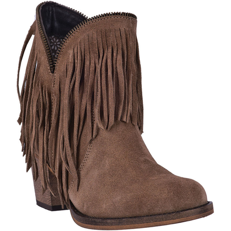 LADIES DINGO JUJU GRAY FRINGE ANKLE BOOTS DI7454