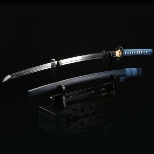Handmade Blue Tsuba Katana Real Katana Japanese Samurai Swords With Black Scabba