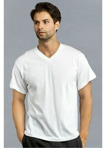 50330bcf51a173 3 Mens Knocker 100% Cotton V-NECK WHITES T-SHIRTS TEES UnderShirts ...