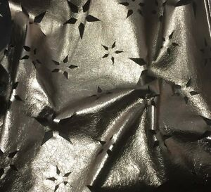Perforated Star Floral Metallic PEWTER Lambskin Leather Hide Piece 1 square foot