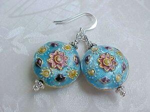 Cloisonne-Earrings-Boho-Gypsy-Wabi-Sabi-Mandala-Talavera-Tile-Rustic-Turquoise