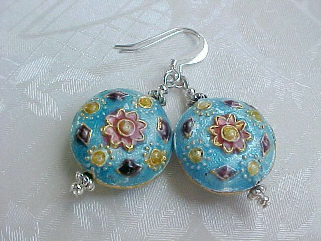 Cloisonne Earrings Boho Gypsy Wabi Sabi Mandala Talavera Tile Rustic Turquoise