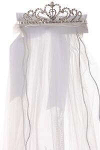 Girls Rhinestone White Virgin Mary First Communion Veil Baptism Flower Dress 13B
