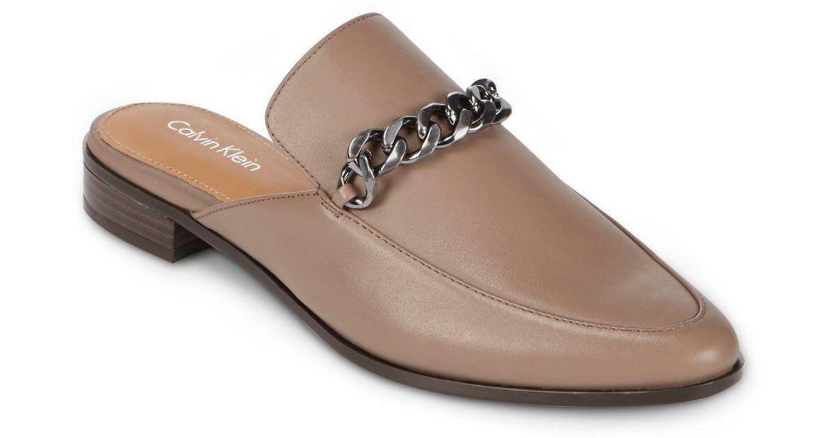 Descuento de liquidación Calvin Klein Women Frieda Leather Loafer Mules Open Back Winter Taupe