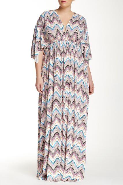 Rachel Pally Zig Zag White Label Printed Kaftan Casual Maxi Dress ... 9fc82bf07
