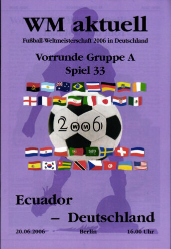 2006 World Cup Programme 33 Ecuador Germany, 20.06.2006 in Berlin