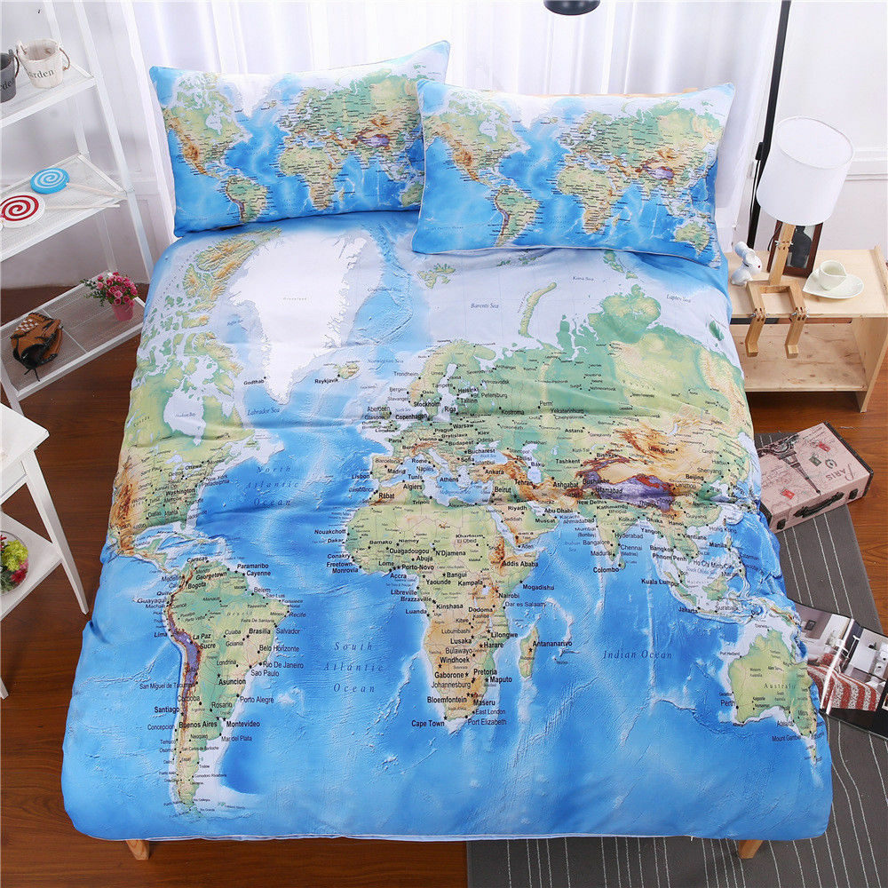 World Map Bedding Set Vivid Printed bluee Bed Duvet Cover with Pillowcase 3pcs