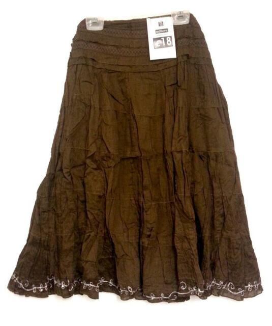 EDITIONS Ladies Flared Short Tier & Sequin Border Cotton Skirt BROWN - 8 - 18
