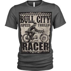 Bull-city-T-Shirt-Speed-thrills-racer-biker-motorbike-t-shirt-Unisex-Mens