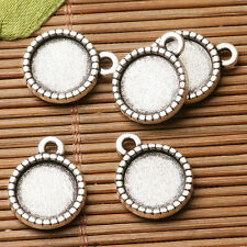 3pcs dark silver color rim  round shaped cabochon setting in 20mm EF3206