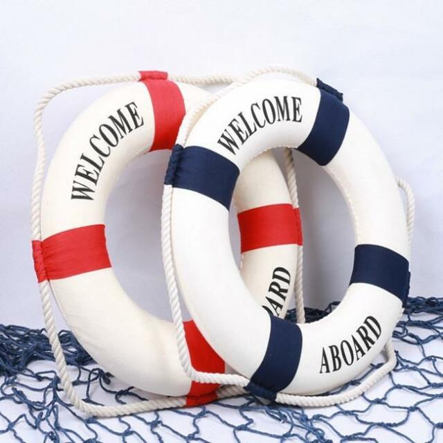 Nautical Welcome Aboard Buoy Life Ring Hanger Hanging Decoration DD