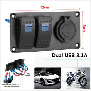 Details about Car Marine 2-Gang Circuit Blue LED Rocker Switch Panel  Breaker Dual USB Charger